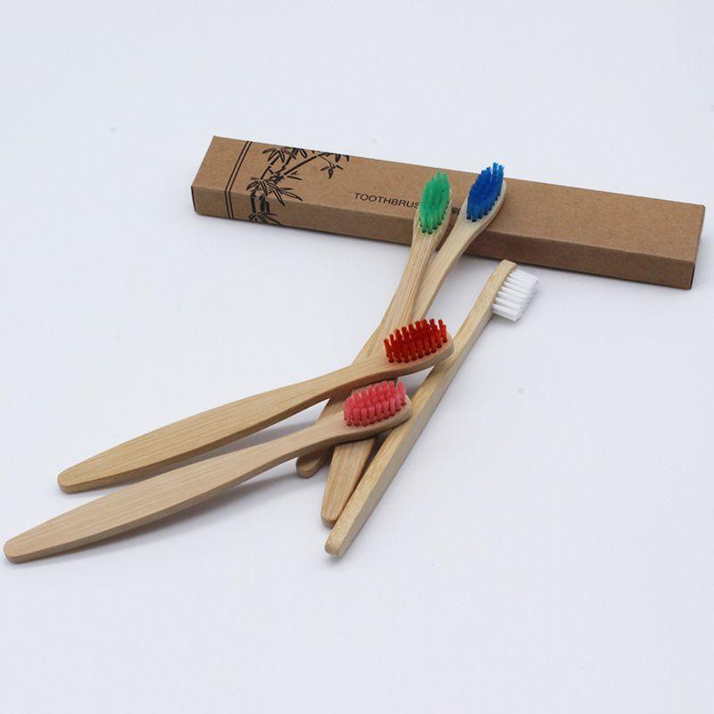 Spazzolino in legno ecologico Spazzolino in bambù Fibra di bambù morbida Manico in legno a basso tenore di carbonio Ecologico Per bambini Igiene orale