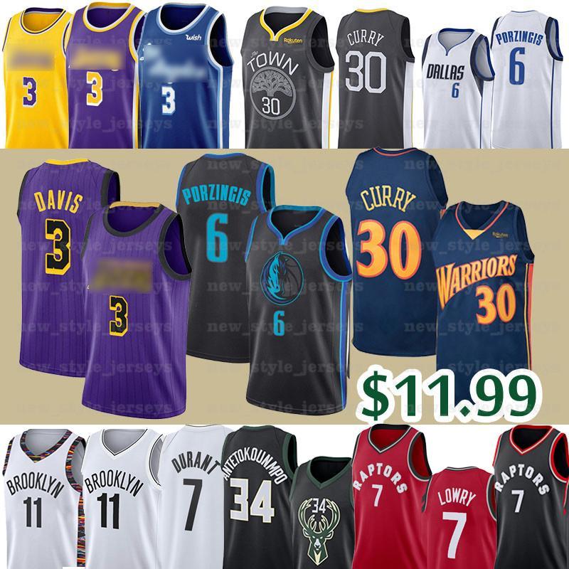 NCAA enfants Hommes Anthony 3 Davis Jersey 30 Jayson Lowry 0 Stephen Tatum Curry Kristaps 6 Porzingis Basketball Maillots 7 Kyle