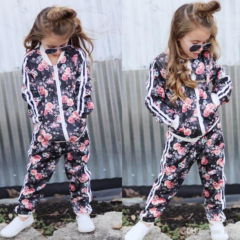 Roupas para crianças 2018 Outono Roupas Meninas Da Criança 2 Pcs Definir Roupas Floral Impresso Casaco E Calças Crianças Roupas Treino Meninas