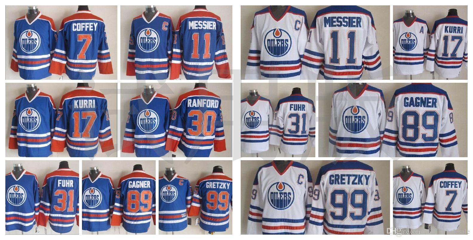 Edmonton Oilmers Jersey Paul Coffey Mark Messier Jari Kurri Bill Ranford Grant Fuhr Beyaz Mavi Vintage CCM Erkekler Dikişli Hokey Formaları