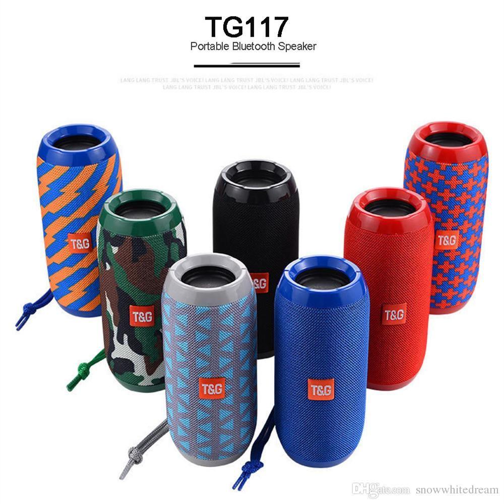 TG117 بلوتوث المتكلم في الهواء الطلق للماء المحمولة اللاسلكية العمود مكبر الصوت مربع دعم tf بطاقة راديو fm aux الإدخال مقابل TG113 jbl تهمة 3