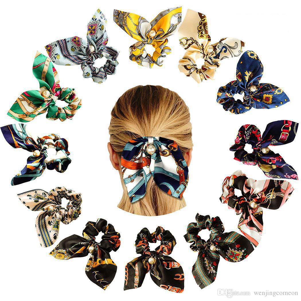 New Big Bowknot Hair Scrunchies Pearls Hair Rope Ring Ponytail Holder Soft Elastics Hair Tie Bands Girls Accessories