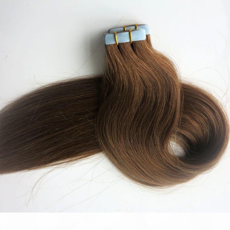 أعلى جودة 100 جرام 40 قطع الشريط في الشعر الملحقات الغراء الجلد لحمة الشعر البشري 18 20 22 24 بوصة الضوء البني البرازيلي الهندي الشعر