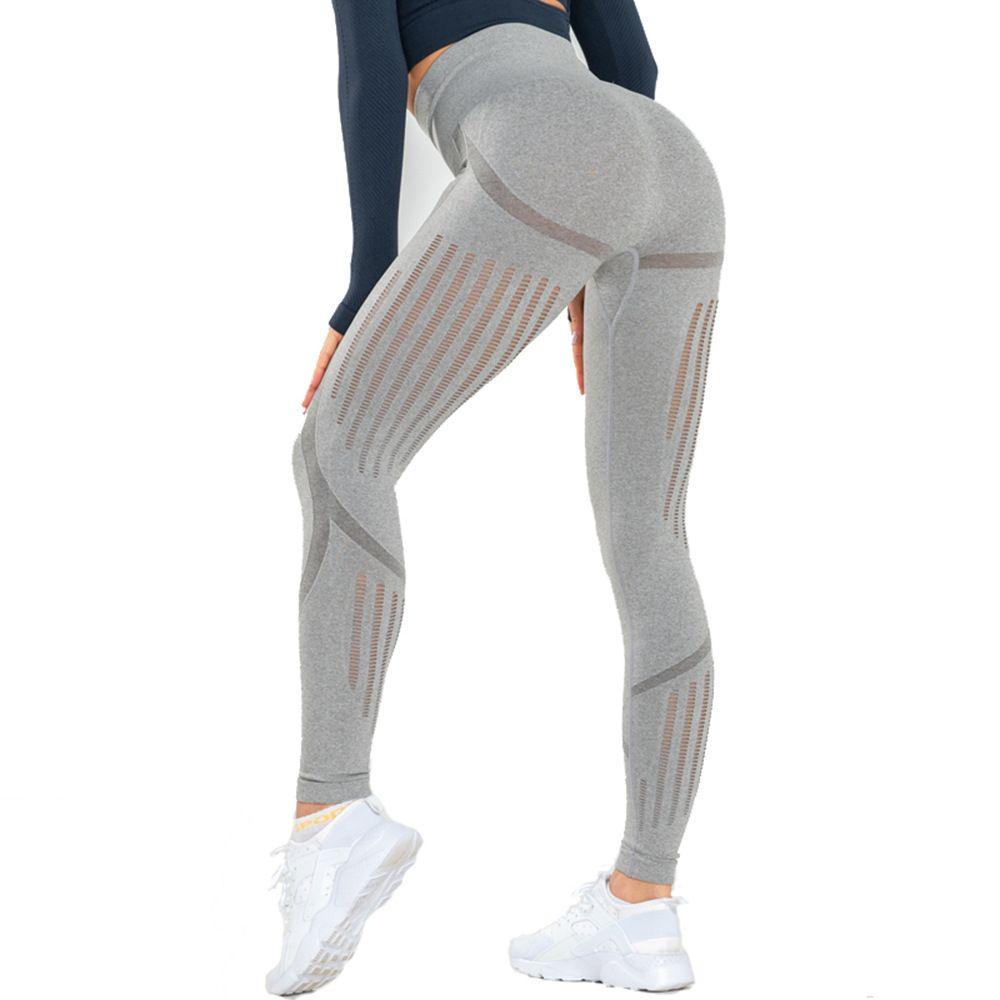 Mujeres malla pantalones de yoga de cintura alta aptitud del deporte Medias empuja hacia arriba Punto de entrenamiento Correr Pantalones