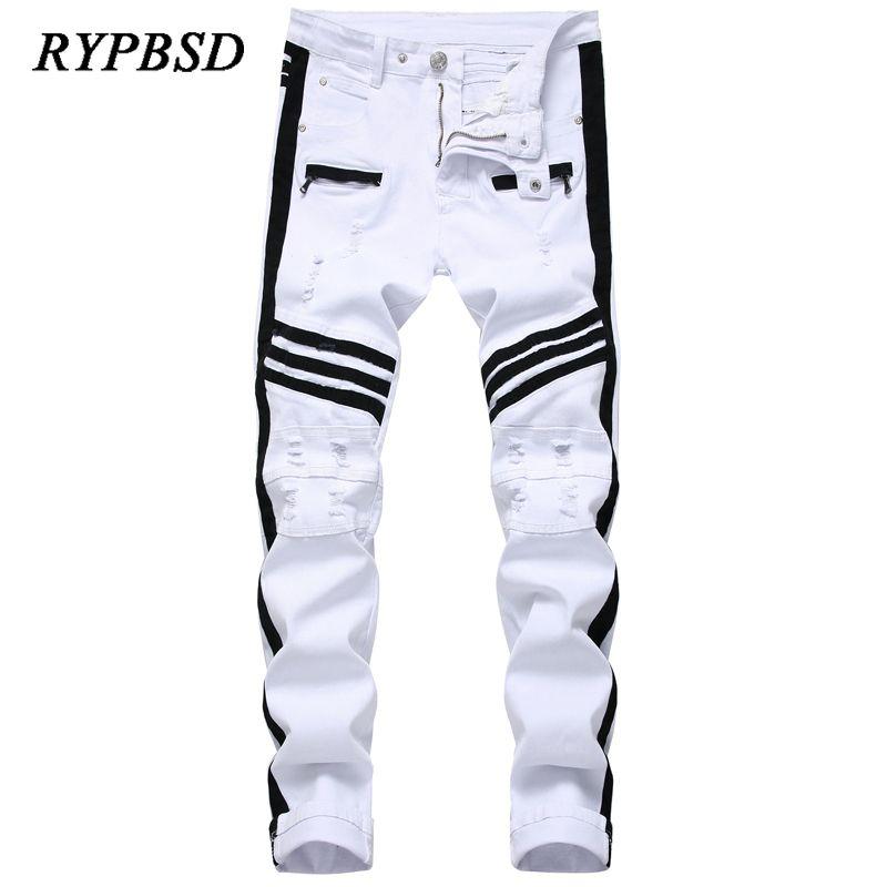 White Men Skinny Jeans Pants 2020 Fashion Punk Hip Hop Men Slim Jeans Zippers Patchwork Destroyed Ripped Plus Size 28-42