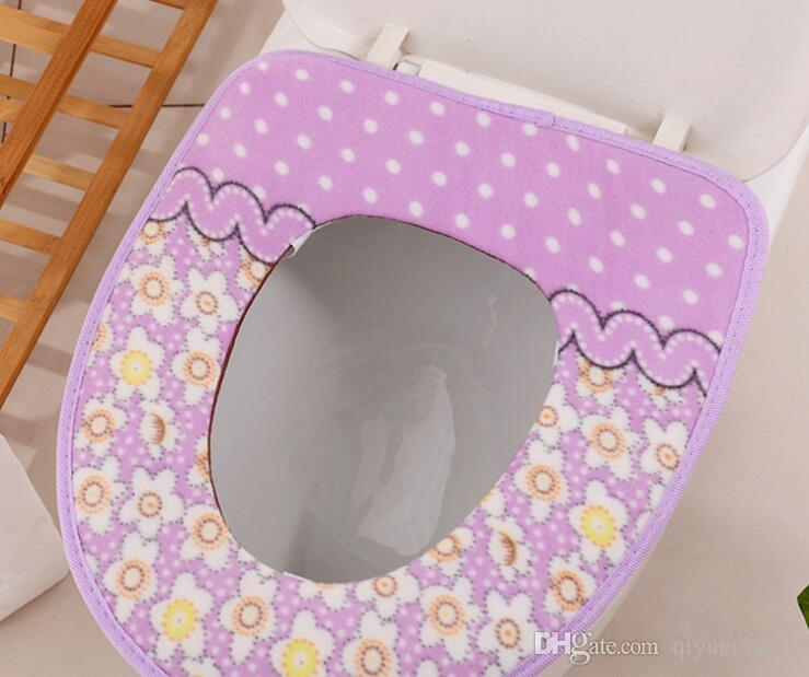 Sticky and Thick Padding Soft Toilet Lid Seat Cover 4 Pieces Soft Padding