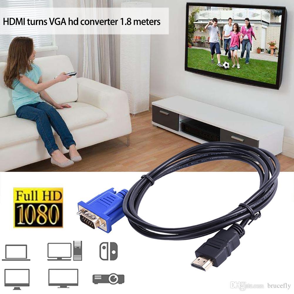 1.8m 6ft HDMI إلى VGA ذكر محول محول كابل لأجهزة الكمبيوتر اللوحي تلفزيون الهاتف المحمول 1080P