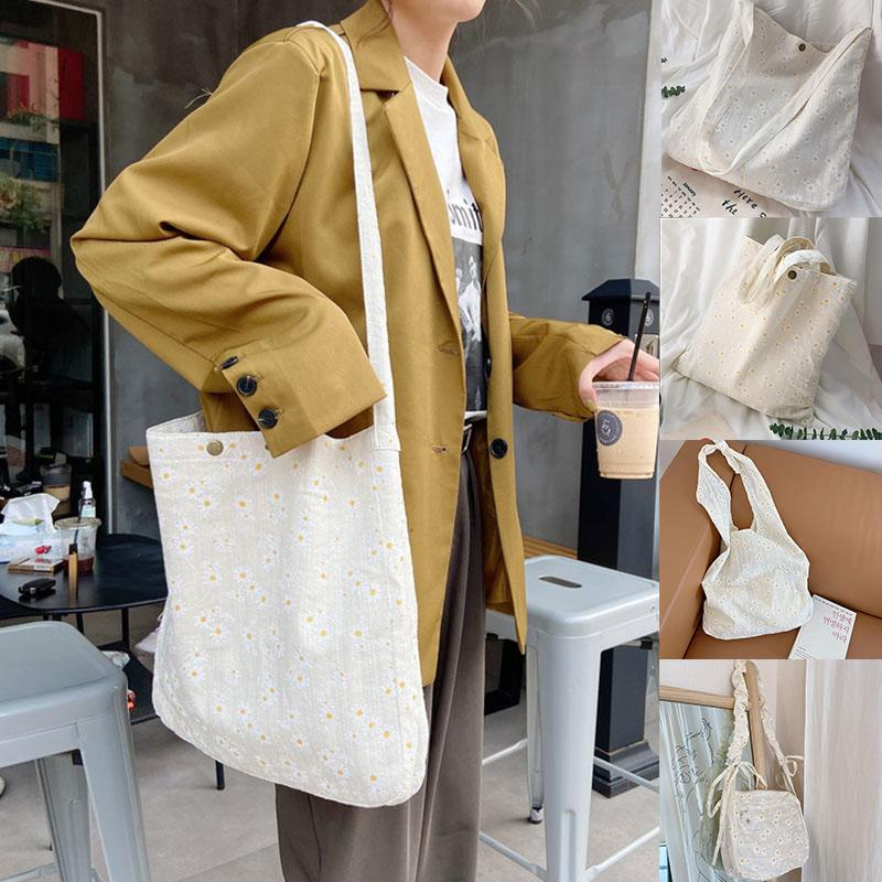 2020 для дизайна повседневные новые женские сумки девушки Tote дамы тиснение сумки для покупок Дейзиная сумка для сумки сумки сумочка холст плечевой литературный xbvwo xpkuj