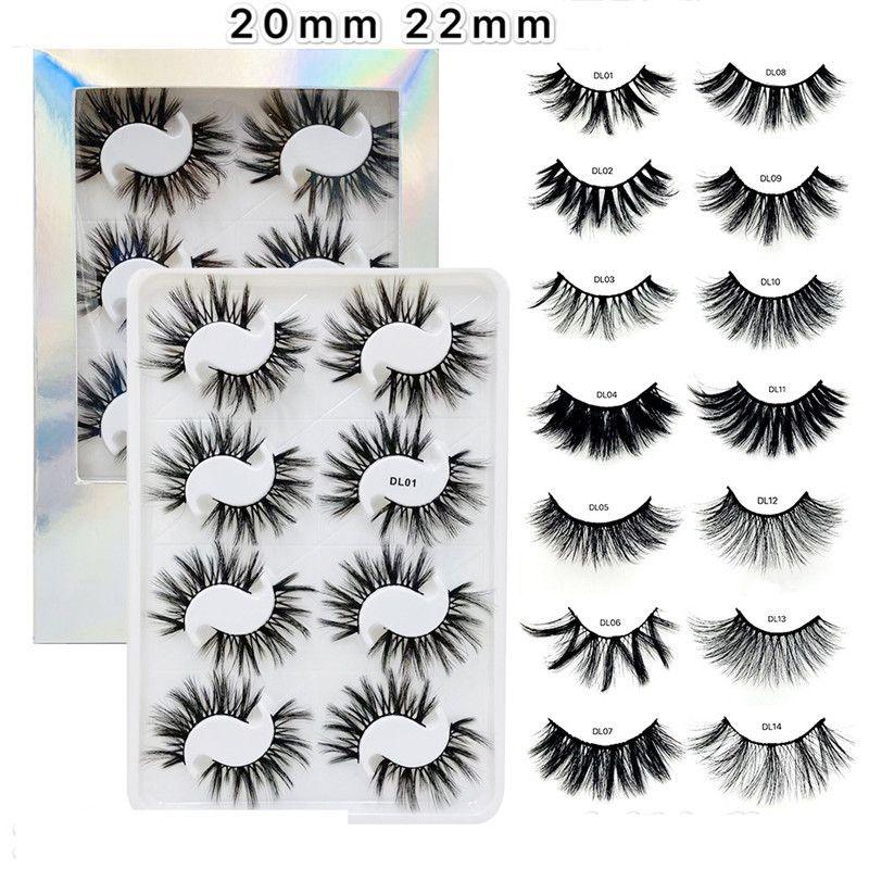 Nouveau 20 mm à 22 mm Faux 3D Mink cils naturels Faux Cils Faux volume dramatique Mink Lashes Maquillage Cils Extension soie Cils