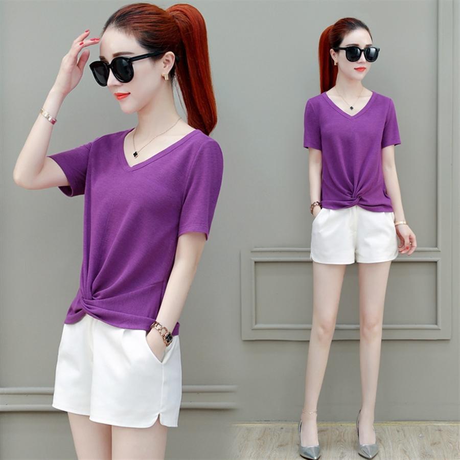 Сплошной цвет женщин льда шелк короткий рукав 2020 футболка топ короткий тонкий западный стиль футболки V-образным вырезом половины рукав сверху