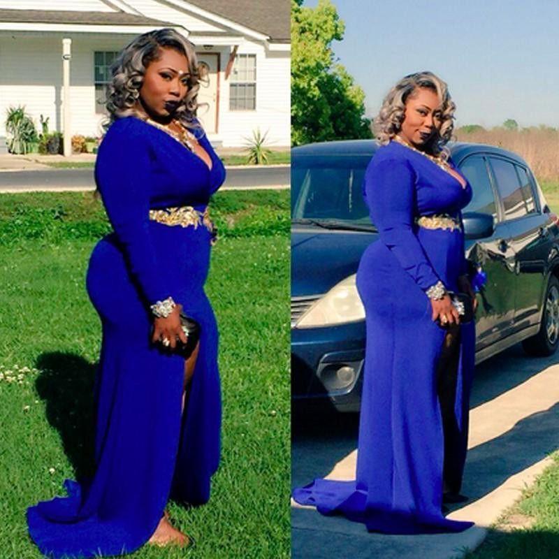 Plus Size bleu royal robes de soirée avec Sash manches longues Robes de bal fendus Sexy Robes de paiement Tenue