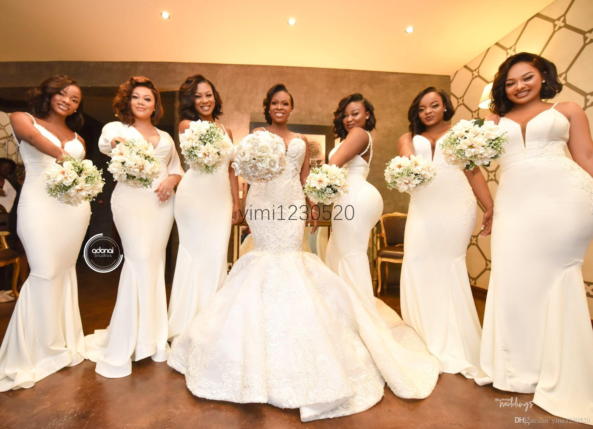 Ivory African Mermaid Bridesmaid Dresses 2020 Spaghetti Appliques Beads Pearls Sweep Train Garden Country Wedding Guest Gowns Maid Of Honor