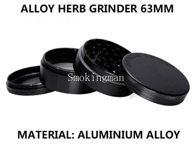Space Case 63mm Duży szlifierka 4 sztuk Aluminiowa przestrzeń Case Młynek tytoń Dymu Detektor Papierosowy Szlifowanie Dym Tobacco Grinder Fit Suche Herb