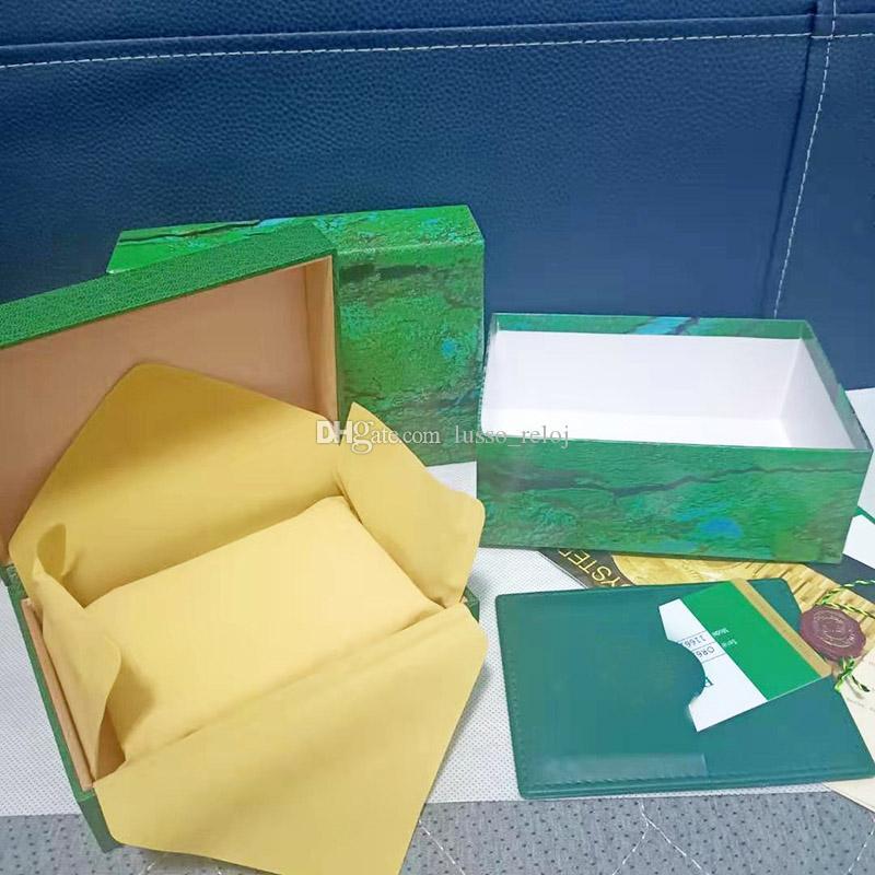 Kutu Erkek İzle Ahşap Kutu Orijinal İç Dış Saatler Kutuları Kağıtları Hediye Çantası Saatı Kutusu Box Watch Case