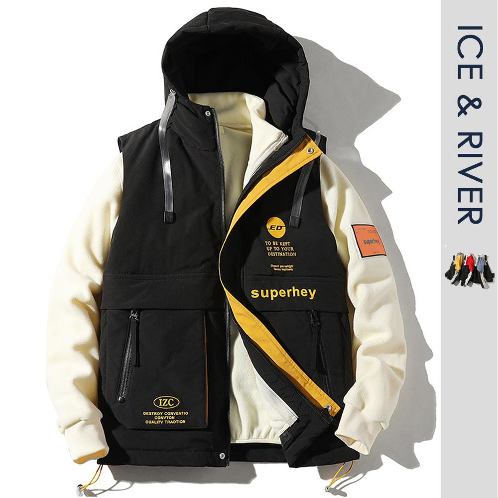 Homens Adolescentes Inverno de Nova capa Casual Duck Down Jackets Parkas Colete homens Hip Hop Moda Quente Waterproof Thick Jacket + Vest homens CJ191213