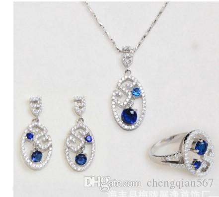 fashion crystal diamond wedding bride set necklace earrings ring up-market products free shipping 51.5n
