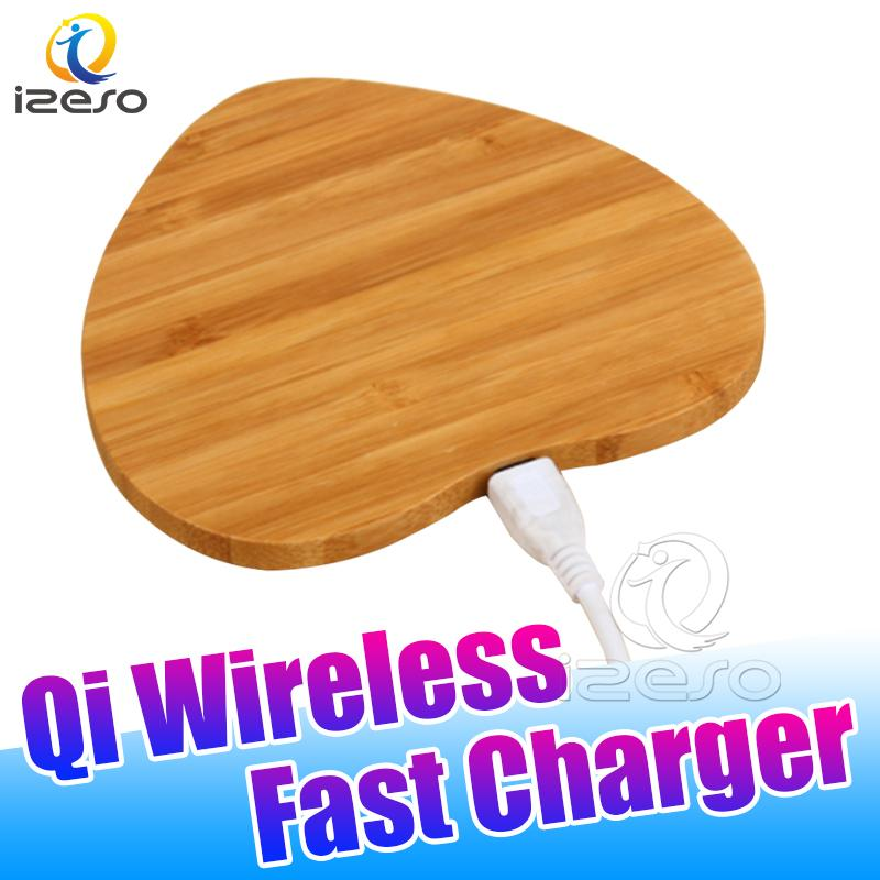 Bamboo Wood Wireless Charger Pad Qi Fast Charging Dock for iPhone 11 Pro Xs Max Samsung S20 Note10 Plus with Retail Package izeso