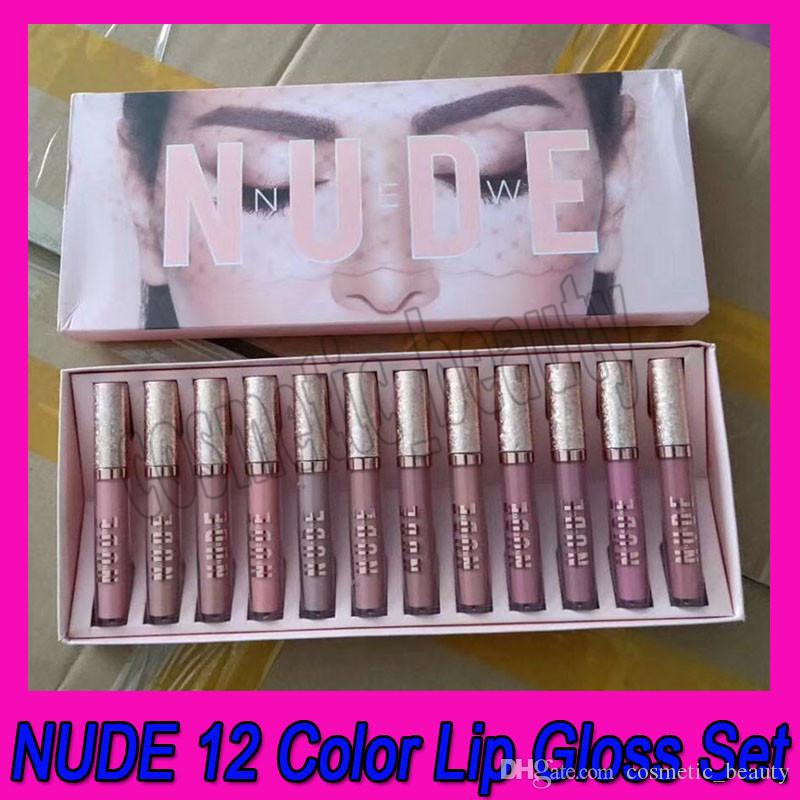 Set di trucco per labbro 12pcs Nudo rossetto liquido opaco 12 colori Un kit di labbra lucido labbra lipgloss