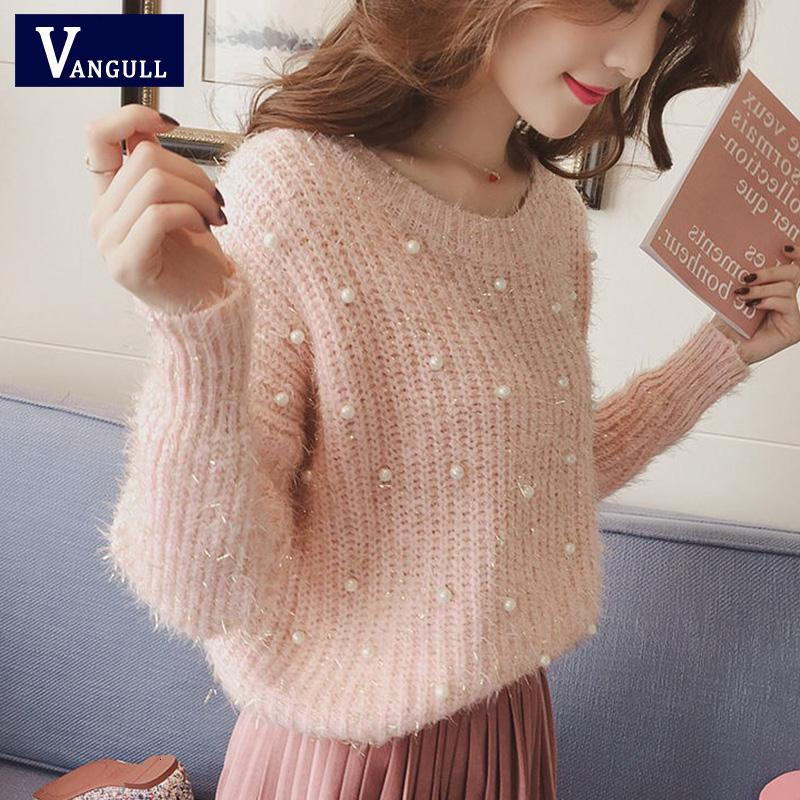Vangull Pearl Beading O Neck Sweater Sweet Women Pullovers Knit Jumper Long Sleeve Casual Solid Sweater Pull Femme Autumn 2019 LY191210
