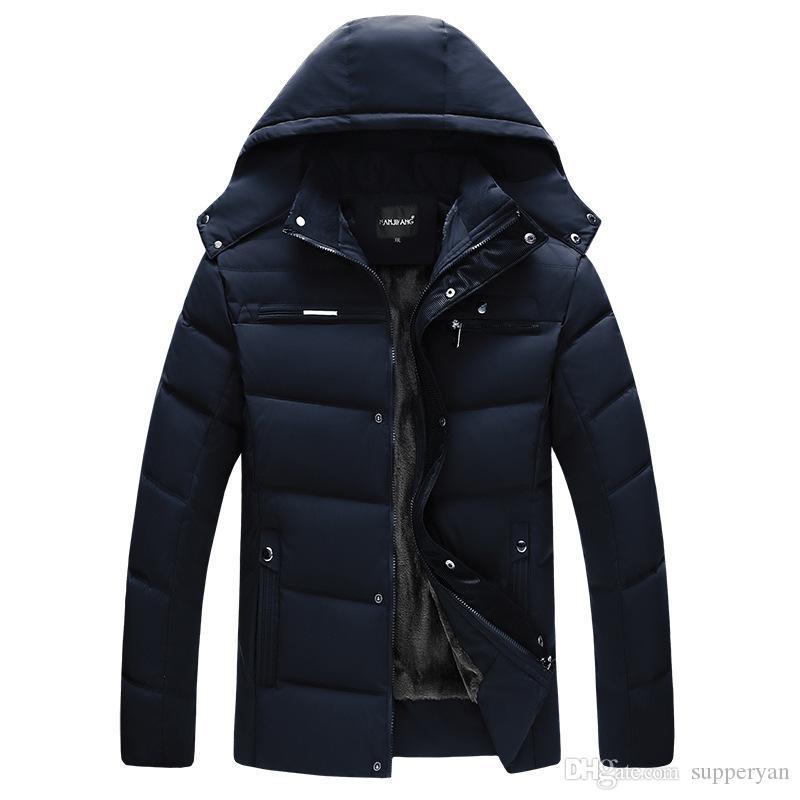 Parka d'hiver manteaux 2019 épais veste chaude hommes coton capuche Outwear manteau chaud Top Plus velours coton Parka manteau J190913