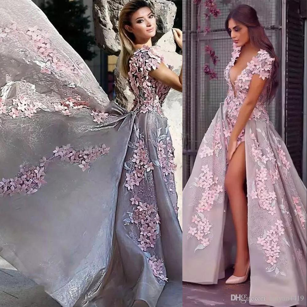 New Sexy Prom Dresses Plunging V Neck Short Sleeves Pink 3D Flowers Lace Applique Side Split Open Back Long Evening Dress Wear Party Gowns