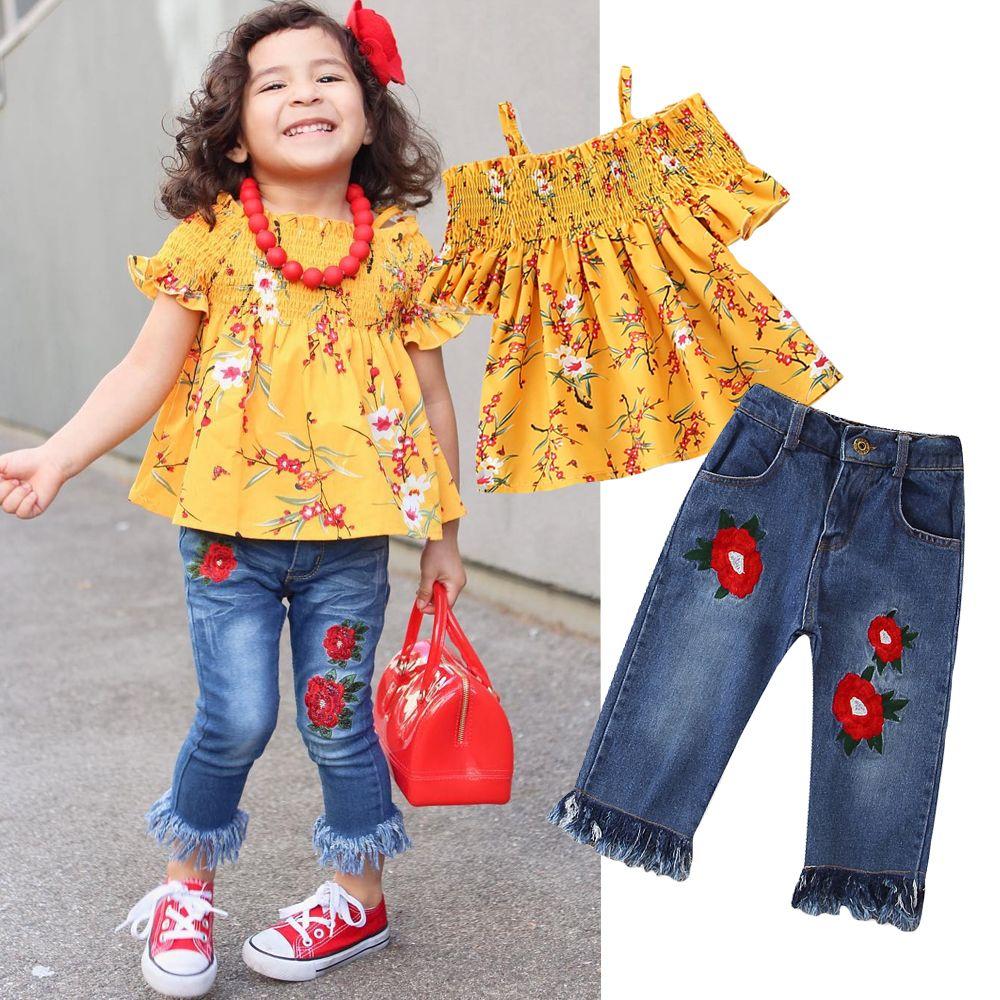 Мода девочек Одежда Set 2020 лето Девочки Одежда Цветочные печати Tops + джинсы штаны 2 шт Детская одежда