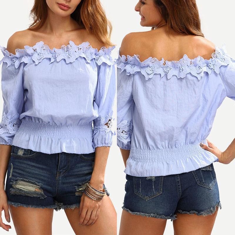 Mode Femmes solides épaules Chemise à manches longues T-shirt