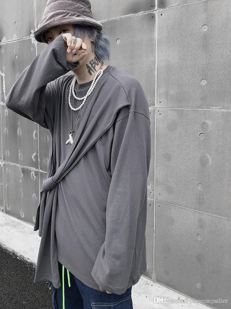 ستريت ستايل مصمم رجالي بلايز ربيع الخريف عارضة الازياء ضمادة بأكمام طويلة مصمم القمم ملابس رجالي