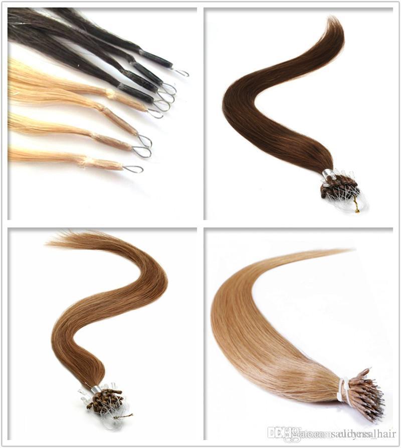 Длина 14 дюймов-26 дюймов нано кольца индийский Реми 100% наращивание человеческих волос 0.5 г / с 200s / лот Нано наконечник девственные волосы, Бесплатная доставка
