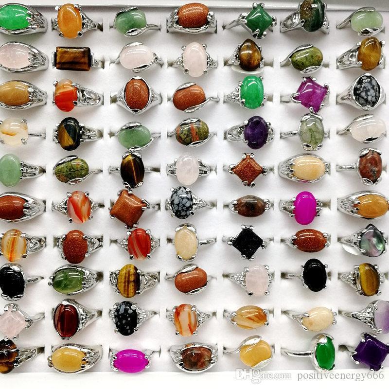 Mode 30 Stücke / Los Regenbogen-Stein-Ring-Mischungs-Art-Design Frauen-Naturstein-Ring Schmuck Geschenks