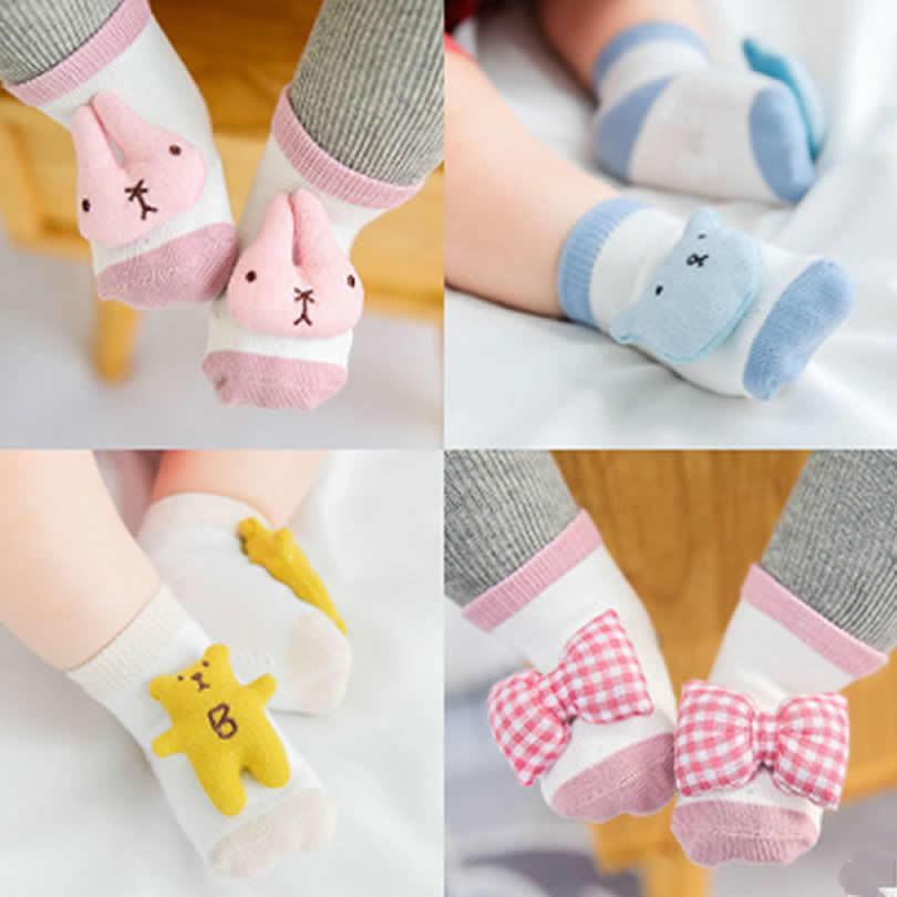 Babyboden Socken Baumwollgewebe Puppe Bär Kaninchen Bogen Spielzeug Baumwolle Nette Socken Cartoon Kinder Socken Gummi Winter Warme Rohr Socke 3 paar