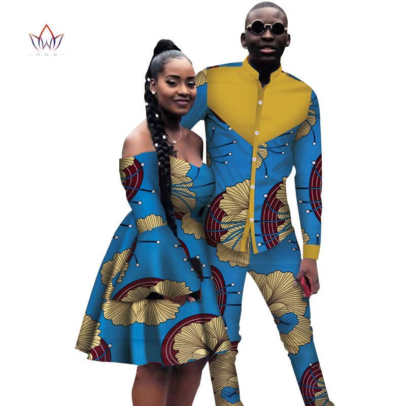 Casais doce amante Roupa conjuntos Mulheres manga comprida vestido homens para o amante Bazin Riche Plus Size Casal Roupa WYQ167