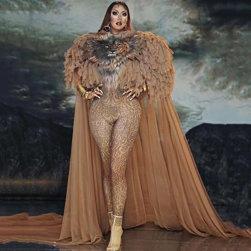 Traje atractivo del mono etapa nueva de la venta del tigre del patrón del mono de las mujeres traje de cantante Bar DS danza de baile de Cosplay del modelo muestran ropa