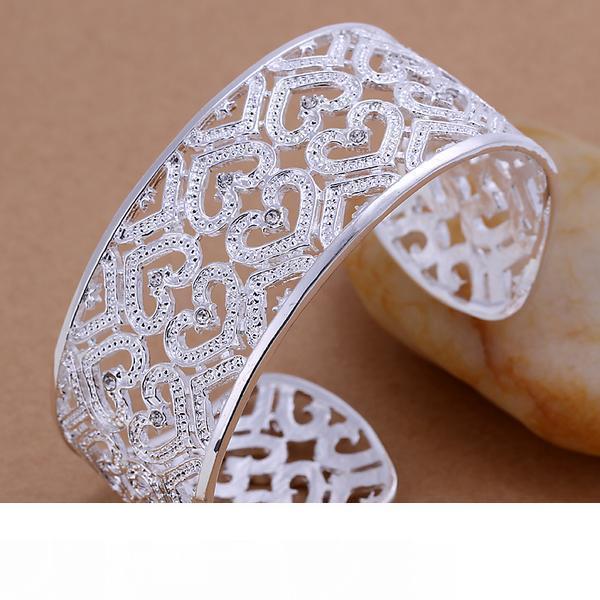 Бесплатная доставка Лучший новый стерлингового серебра 925 пробы большой гладкий широкий манжеты браслет браслеты пирсинг с бриллиантом Рождество GIFTJEWELRY 1302