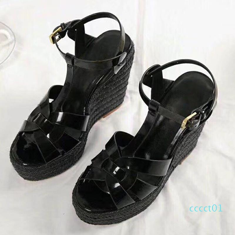Sommer-Frauen-Sandelholz-Schuh-Frauen-Pumpen-Plattform-Keil-Ferse beiläufige Art und Weise Schleifen-Bling Stern Thick Sole Frauen Schuhe CT1