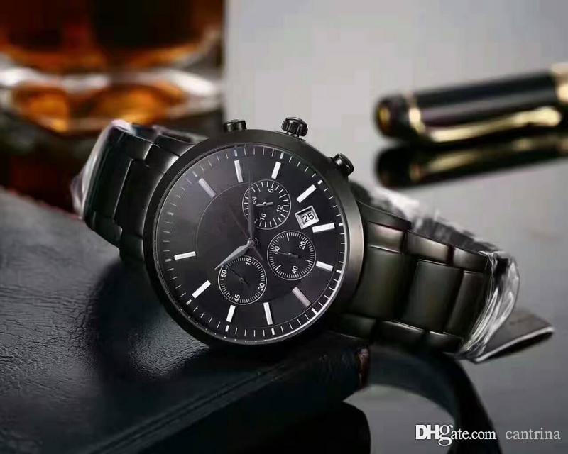 transporte da gota Classic Mens Wristwatch Men Watch Box Original aço inoxidável Top Fábrica de luxo relógio AR2434 AR2448 AR2454 AR2453 AR11047