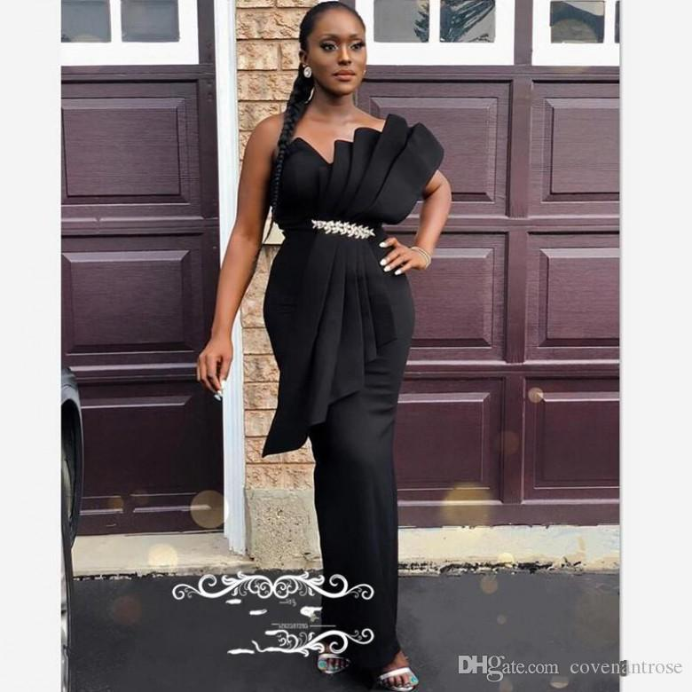 2019 Chic Black Evening Dresses With Beads Pleat Long Strapless Satin Corset Back African Mermaid Prom Dress Party Wear