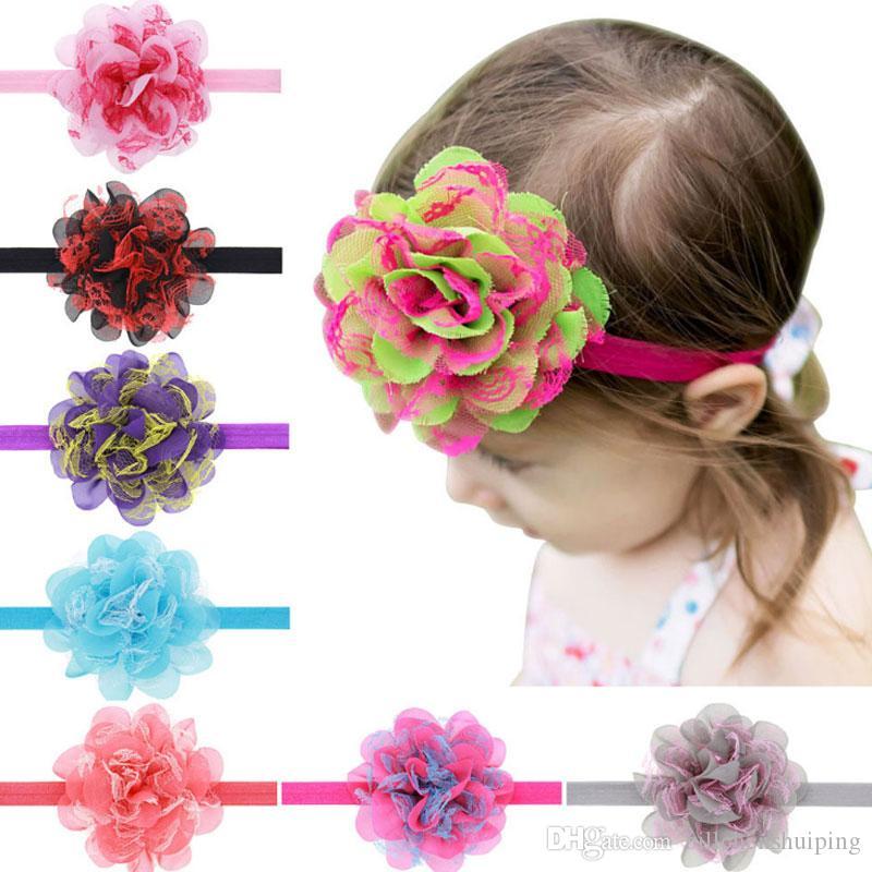 Новорожденных новорожденных девочек повязки на голову цветок кружева сетка ленты для волос младенцев малыша обруч для волос головы дети аксессуары для волос головные уборы
