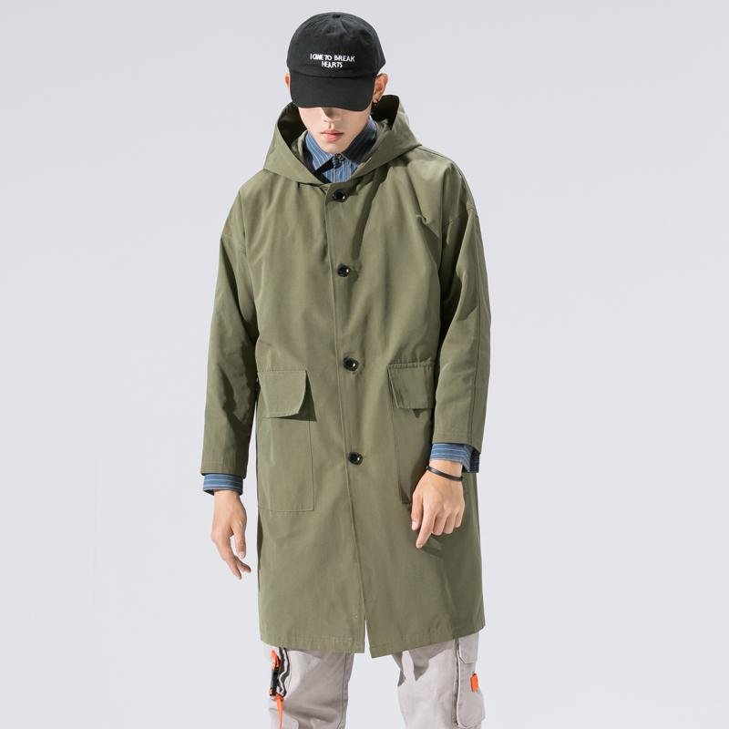 2019 Casual Mens Windbreaker giacche lunghe Trench For Men Primavera Estate Autunno Inverno Abbigliamento