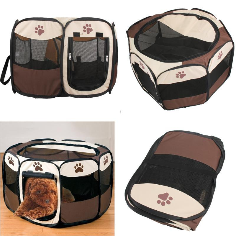 Claw Print Portable Foldable Pet Fence Indoor Outdoor Game Safe Guard Playpen Small Medium Animal Cage for Cat Dog