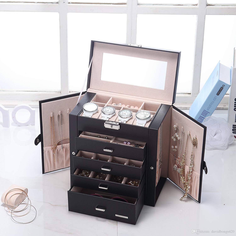 الجلود الاصطناعية ضخمة صندوق المجوهرات المتطابقة ووتش منظم قلادة حزام القرط التخزين قابل لل حالة هدية الأسود