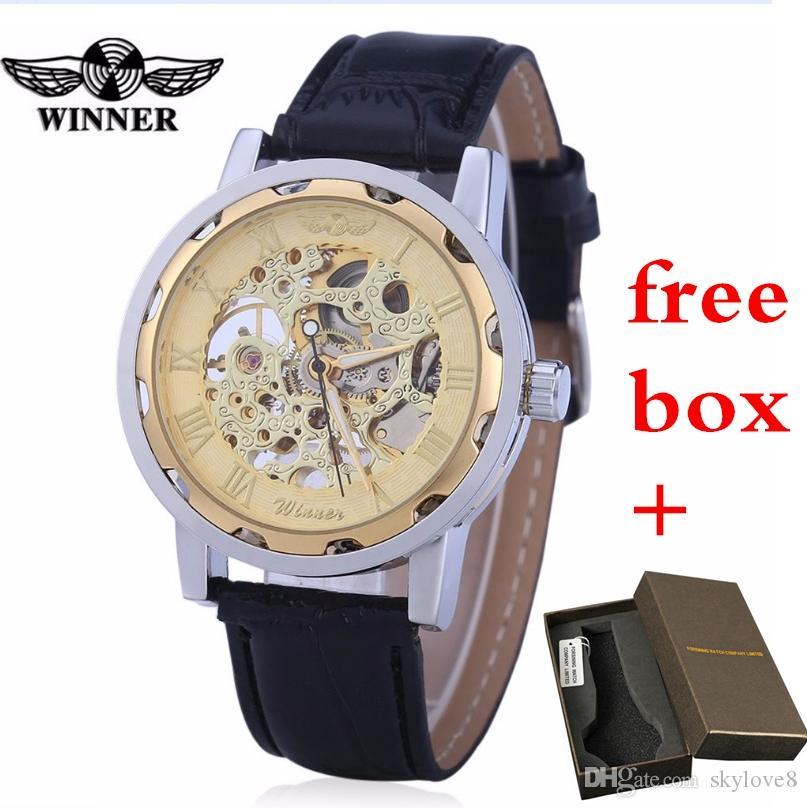 Montres mécaniques d'usine pour hommes direct marque de mode gagnant cuir creux montres automatiques non-fading montres d'affaires hypoallergéniques