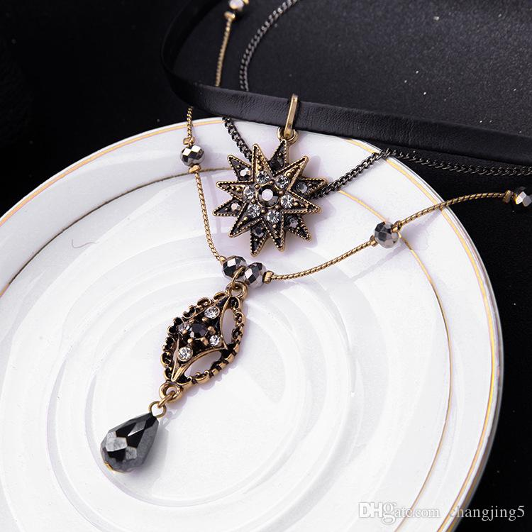 Collar vestido de fiesta de múltiples capas collar de la estrella temperamento gota colgante del collar del ahogador de la Mujer de la joyería regalo de la manera
