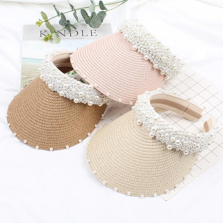 Summer big Girls Sun Caps Sweet Pearl straw Hats Fashion Kids Casual Sun Shade Children Beach visor Girl ball hats Y2475
