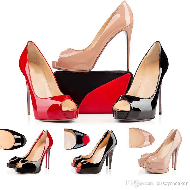 2020 sapatas do desenhador Então Estilos de Kate saltos altos vermelhos com fundos planos Salto 12cm Couro Ponto Toe Bombas tamanho 35-42 Com Box dustage