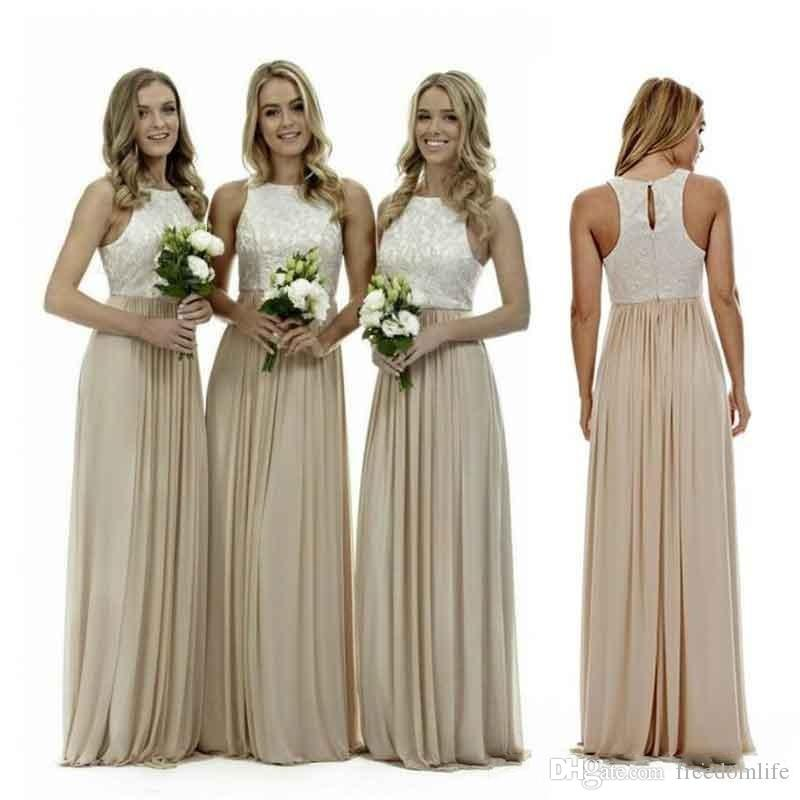 Sexy Long Champagne Bridesmaid Dresses