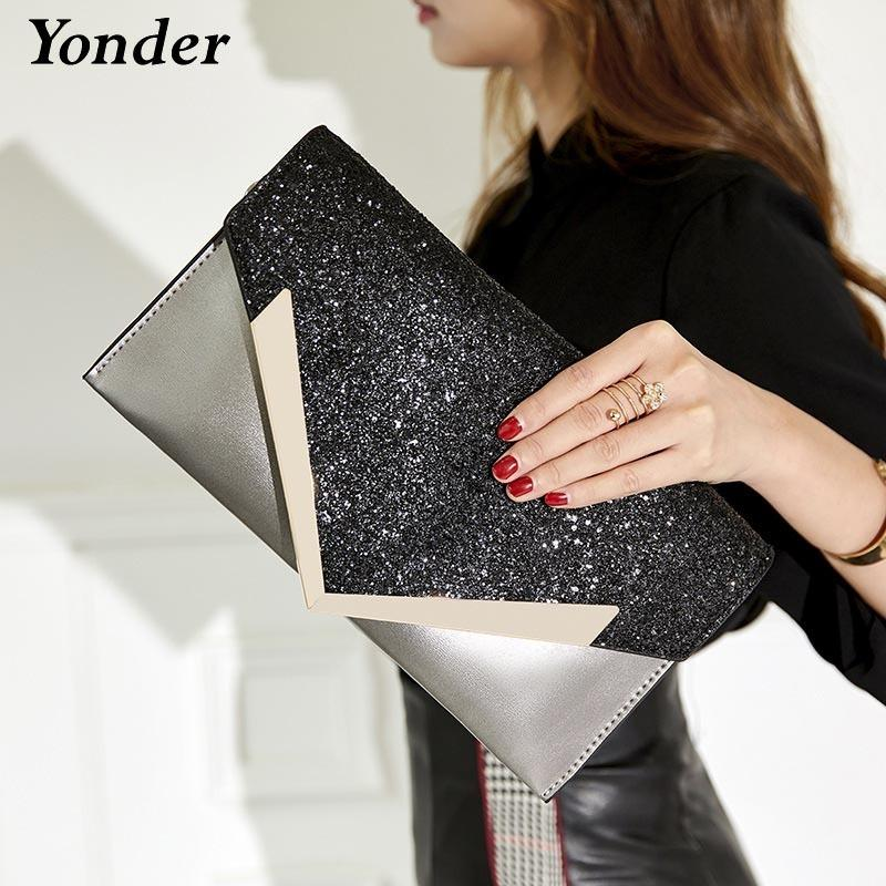 Yonder Women Bag Party Wedding Ladies Clutch Bag Women Evening Small Messenger Shoulder Bag Purses And Handbags Gold Black/pink Y19062003