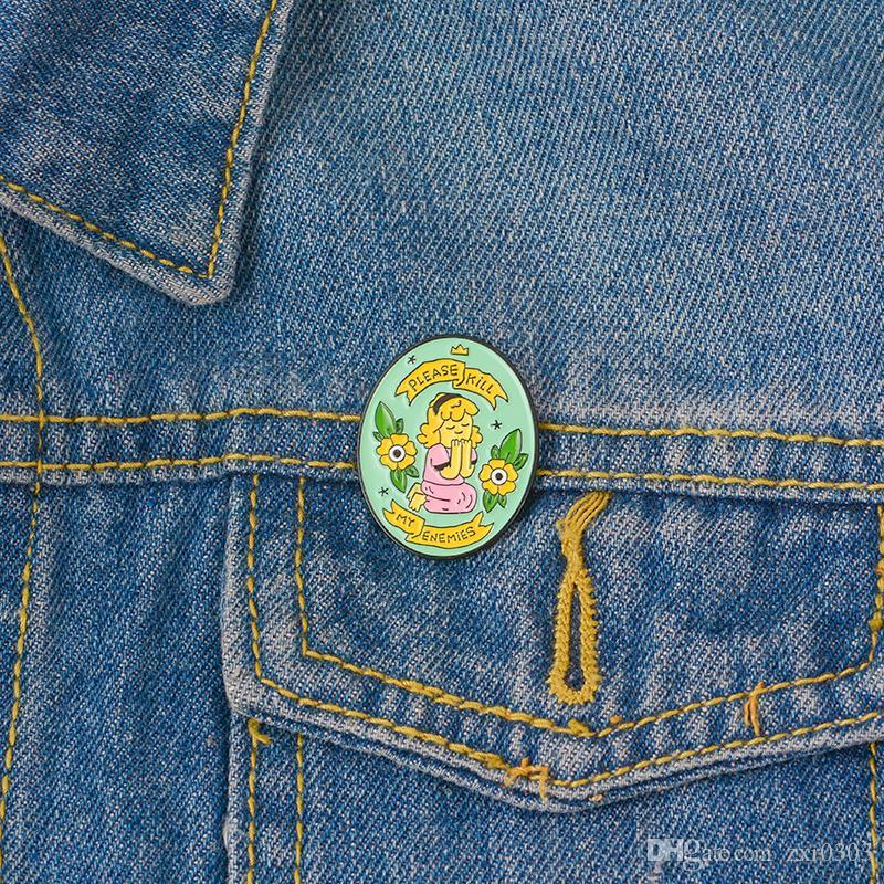 Ellipse Form Brosche Stifte Gedruckt mit einem Mädchen in rosa Blumen und bitte töte meine Feinde Nette und romantische Art Brosche Pins Geschenk für Kinder