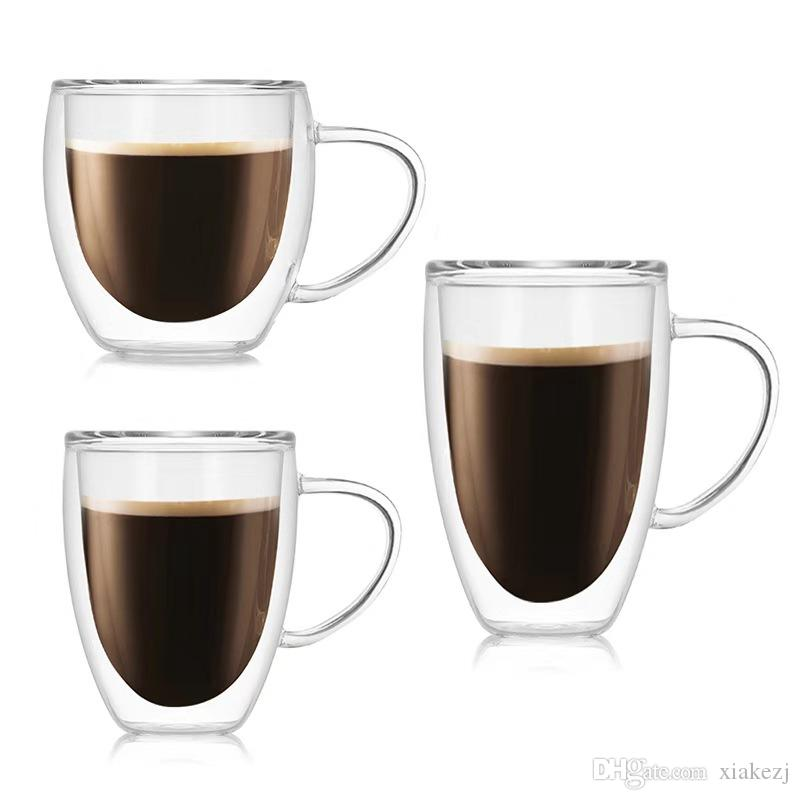 Flat Ear Coffee Cup Heat-resistant High Borosilicate Glass Water Cup Drink Mug Double Wall Glasses Milk Juice Tea Cup With Handle