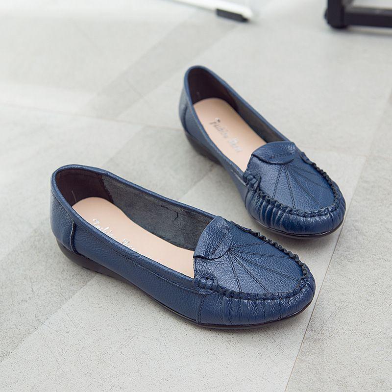 Flache Schuhe der Frauen echtes Leder-beiläufige Slip-on-Loafers weiche bequeme Mokassins Mutter Einzel Lederschuhe Schuhe Mujer
